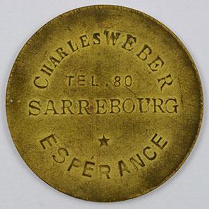 Photo numismatique  Monnaies Monnaies et jetons de nécessité d'Alsace-Moselle SAARBURG (Sarrebourg) (57) Syndicat d'Entrepositaires et Limonadiers 1 F   R, Lt  29mm   Charles Weber    TTB+