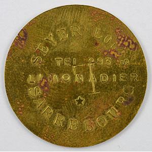 Photo numismatique  Monnaies Monnaies et jetons de nécessité d'Alsace-Moselle SAARBURG (Sarrebourg) (57) Syndicat d'Entrepositaires et Limonadiers 1 F   R, Lt  29mm   Seyer Louis contremarqué L    TB+