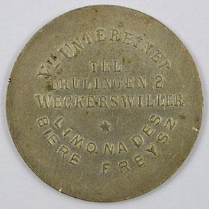 Photo numismatique  Monnaies Monnaies et jetons de nécessité d'Alsace-Moselle SAARBURG (Sarrebourg) (57) Syndicat d'Entrepositaires et Limonadiers 1 F   R, Maillechort  29mm   Weckersviller  Vve Untereiner    TTB
