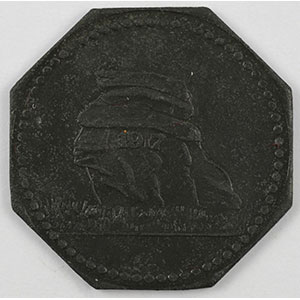 Photo numismatique  Monnaies Monnaies et jetons de nécessité d'Alsace-Moselle MERLENBACH (Merlebach) (57) Merlenbach 10 (pf)    1917,Zn,8   20,5 mm    TTB