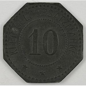 Photo numismatique  Monnaies Monnaies et jetons de nécessité d'Alsace-Moselle SAARGEMUND (Sarreguemines) (57) Stadt 10 (pf)   1917   Zn,8   21 mm   TTB+