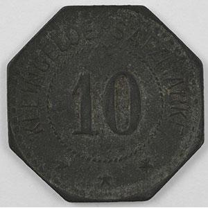 Photo numismatique  Monnaies Monnaies et jetons de nécessité d'Alsace-Moselle BUSENDORF (Bouzonville) (57) Lothringer Walzengiesserei Busendorf 10 (pf)   Zn,8   21mm    TTB