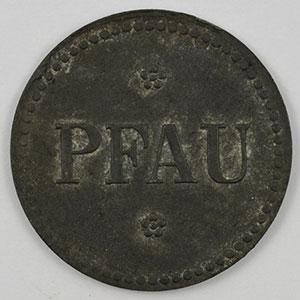 Photo numismatique  Monnaies Monnaies et jetons de nécessité d'Alsace-Moselle HAYINGEN (Hayange) (57) Pfau Flaschenpfand 10 (Pf)   Zn, R 20mm    TTB