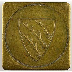 Photo numismatique  Monnaies Monnaies et jetons de nécessité d'Alsace-Moselle SAARBURG (Sarrebourg) (57) Freiw. Städt Feuerwehr (pompiers volontaires) SVI   Lt, carré coins arrondis  25mm    TTB