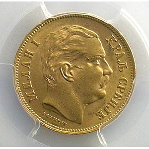 Photo numismatique  Monnaies Monnaies étrangères Serbie Milan, Obrenovich IV (1868-1889) 20 Dinars   1882  (Vienne)    PCGS-MS62    SUP/FDC