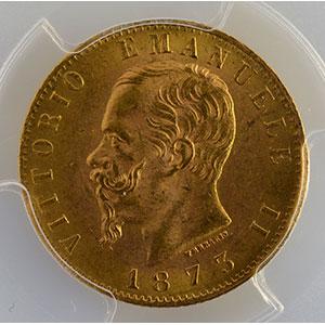 Photo numismatique  Monnaies Monnaies étrangères Italie Vittorio Emanuele II   (1861-1878) 20 Lire   1873 M  (Milan)    PCGS-MS63+    SUP/FDC