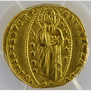 Photo numismatique  Monnaies Monnaies étrangères Italie Doges de Venise Ducat   Andrea Dandolo  (1343-1354)    PCGS-AU55    TTB+/SUP