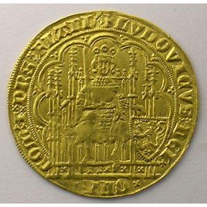 Photo numismatique  Monnaies Monnaies féodales et provinciales Comté de Flandre Louis de Mâle   (1346-1384) Chaise d'or au lion    TTB