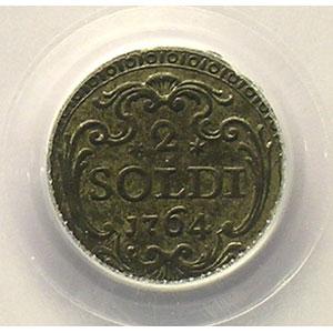 Photo numismatique  Monnaies Monnaies féodales et provinciales Corse Pascal PAOLI   (1762-1768) G.6   2 Soldi   1764    PCGS-AU53    TTB+