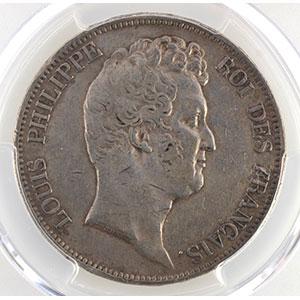 Photo numismatique  Monnaies Monnaies françaises 1793-1959 5 Francs G.675a   sans le I, tranche en relief 1830 A  (Paris)    PCGS-XF40    TB+/TTB