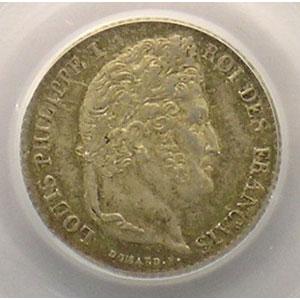 Photo numismatique  Monnaies Monnaies françaises 1793-1959 1/4 Franc G.355   Louis-Philippe I 1832 A  (Paris)    PCGS-MS64    pr.FDC