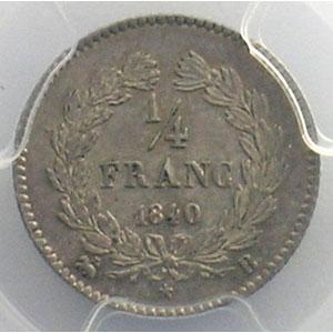Photo numismatique  Monnaies Monnaies françaises 1793-1959 1/4 Franc G.355   Louis-Philippe I 1840 B  (Rouen)    PCGS-MS64    pr.FDC