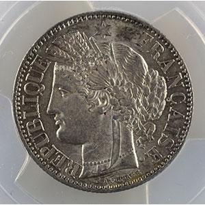 Photo numismatique  Monnaies Monnaies françaises 1793-1959 2 Francs G.522   Cérès  II° république 1851 A  (Paris)    PCGS-AU58    SUP