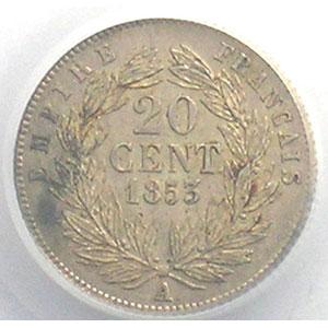 Photo numismatique  Monnaies Monnaies françaises 1793-1959 20 Centimes G.305   Napoléon III tête nue 1853 A  (Paris)    PCGS-AU58    SUP