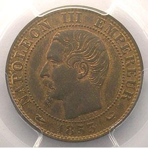 Photo numismatique  Monnaies Monnaies françaises 1793-1959 5 Centimes G.152   Napoléon III tête nue 1853 W  (Lille)    PCGS-MS64BN    pr.FDC