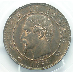 Photo numismatique  Monnaies Monnaies françaises 1793-1959 10 Centimes G.248   Napoléon III tête nue 1853 W  (Lille)    PCGS-MS64RB    pr.FDC