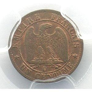 Photo numismatique  Monnaies Monnaies françaises 1793-1959 1 Centime G.86   Napoléon III tête nue 1857 D  (Lyon)    PCGS-MS63BN    SUP/FDC