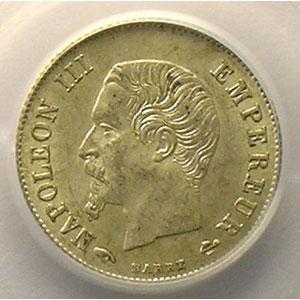 Photo numismatique  Monnaies Monnaies françaises 1793-1959 20 Centimes G.305   Napoléon III tête nue 1860 A  (Paris)    PCGS-AU58    SUP