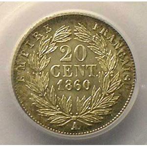 Photo numismatique  Monnaies Monnaies françaises 1793-1959 20 Centimes G.305   Napoléon III tête nue 1860 A  (Paris)    PCGS-MS63    SUP/FDC