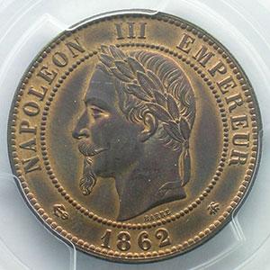 Photo numismatique  Monnaies Monnaies françaises 1793-1959 10 Centimes G.253   Napoléon III tête laurée  1862 A  (Paris)    PCGS-MS63BN    SUP/FDC