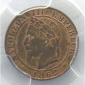 Photo numismatique  Monnaies Monnaies françaises 1793-1959 1 Centime G.87   Napoléon III tête laurée 1862 A  (Paris)    PCGS-MS63RB    pr.FDC