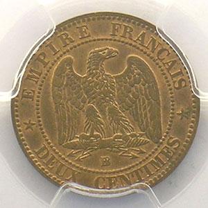 Photo numismatique  Monnaies Monnaies françaises 1793-1959 2 Centimes G.104   Napoléon III tête laurée 1862 grand BB  (Strasbourg)    PCGS-MS63RB    SUP/FDC