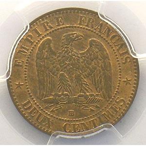 Photo numismatique  Monnaies Monnaies françaises 1793-1959 2 Centimes G.104   Napoléon III tête laurée 1862 petit BB  (Strasbourg)    PCGS-MS64RB    pr.FDC