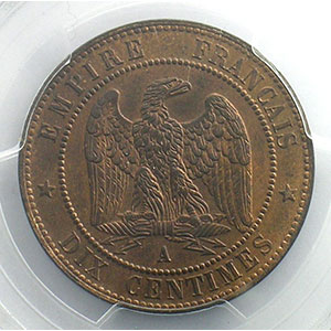 Photo numismatique  Monnaies Monnaies françaises 1793-1959 10 Centimes G.253   Napoléon III tête laurée  1863 A  (Paris)    PCGS-MS63RB    SUP/FDC