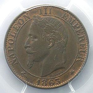 Photo numismatique  Monnaies Monnaies françaises 1793-1959 5 Centimes G.155   Napoléon III tête laurée 1863 A  (Paris)    PCGS-MS65BN    FDC