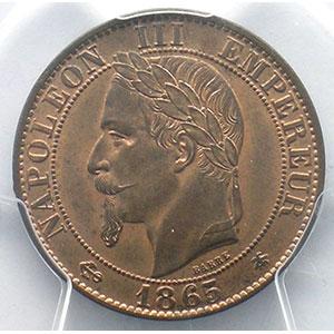 Photo numismatique  Monnaies Monnaies françaises 1793-1959 5 Centimes G.155   Napoléon III tête laurée 1865 A  (Paris)    PCGS-MS65RB    FDC