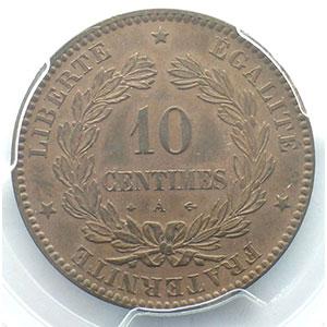 Photo numismatique  Monnaies Monnaies françaises 1793-1959 10 Centimes G.265   Cérès 1870 A  (Paris)  A moyen    PCGS-AU58    SUP