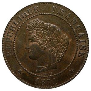 Photo numismatique  Monnaies Monnaies françaises 1793-1959 5 Centimes G.157   Cérès 1871 A  (Paris)    PCGS-MS64RB    pr.FDC