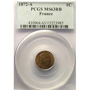 Photo numismatique  Monnaies Monnaies françaises 1793-1959 1 Centime G.88   Cérès 1872 A  (Paris)    PCGS-MS63RB    SUP/FDC