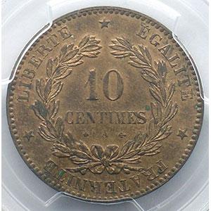 Photo numismatique  Monnaies Monnaies françaises 1793-1959 10 Centimes G.265   Cérès 1873 A  (Paris)    PCGS-MS63RB    SUP/FDC