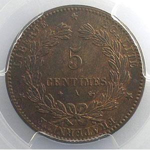 Photo numismatique  Monnaies Monnaies françaises 1793-1959 5 Centimes G.157a   Cérès 1874 A (Paris)    PCGS-MS64RB    pr.FDC