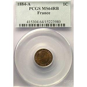 Photo numismatique  Monnaies Monnaies françaises 1793-1959 1 Centime G.88   Cérès 1884 A  (Paris)    PCGS-MS64RB    pr.FDC