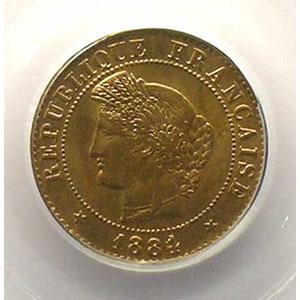 Photo numismatique  Monnaies Monnaies françaises 1793-1959 1 Centime G.88   Cérès 1884 A  (Paris)    PCGS-MS65RB    FDC