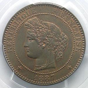 Photo numismatique  Monnaies Monnaies françaises 1793-1959 10 Centimes G.265   Cérès 1887 A  (Paris)    PCGS-MS63BN    SUP/FDC