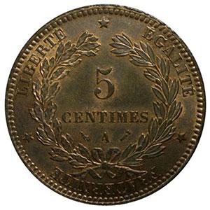 Photo numismatique  Monnaies Monnaies françaises 1793-1959 5 Centimes G.157a   Cérès 1896 A (Paris) faisceau    PCGS-MS64RB    pr.FDC
