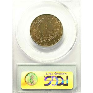 Photo numismatique  Monnaies Monnaies françaises 1793-1959 5 Centimes G.157a   Cérès 1896 A (Paris) torche    PCGS-MS64RB    pr.FDC