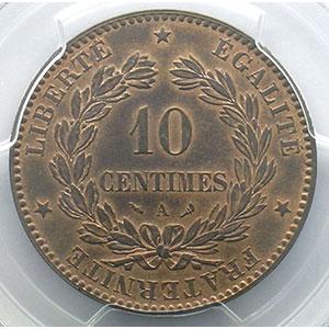 Photo numismatique  Monnaies Monnaies françaises 1793-1959 10 Centimes G.265   Cérès 1898 A  (Paris)    PCGS-MS63RB    SUP/FDC