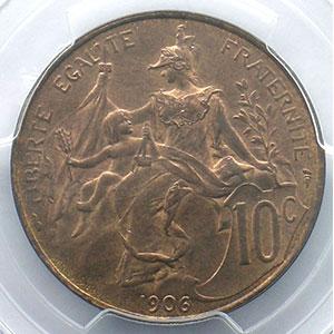 Photo numismatique  Monnaies Monnaies françaises 1793-1959 10 Centimes G.277   Dupuis 1906    PCGS-MS65RB    FDC