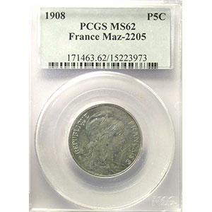 Photo numismatique  Monnaies Monnaies françaises 1793-1959 5 Centimes G.165   Dupuis 1908 Essai en aluminium   PCGS-MS62    SUP/FDC