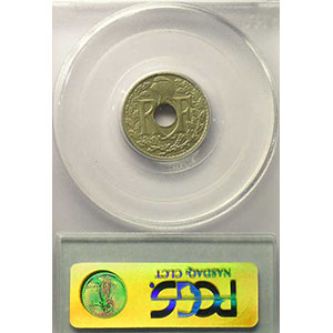 Photo numismatique  Monnaies Monnaies françaises 1793-1959 5 Centimes G.169   Lindauer grand module 1919    PCGS-MS64    pr.FDC