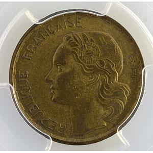 Photo numismatique  Monnaies Monnaies françaises 1793-1959 20 Francs G.865   G.Guiraud 1954 B  (Beaumont le Roger)    PCGS-AU58    SUP