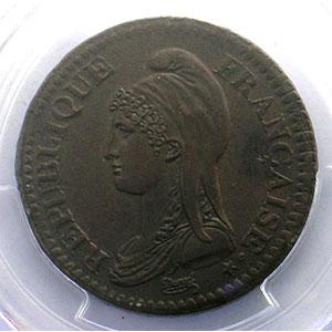 Photo numismatique  Monnaies Monnaies françaises 1793-1959 2 Décimes G.300   Directoire AN 4 A  (Paris)    PCGS-MS62BN    SUP/FDC