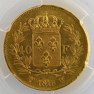 Photo numismatique  Monnaies Monnaies françaises en or 40 Francs G.1092   40 Francs Louis XVIII 1818 W  (Lille)    PCGS-MS63    SUP/FDC
