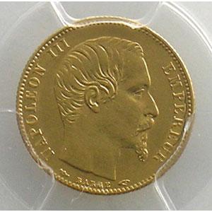 Photo numismatique  Monnaies Monnaies françaises en or 5 Francs G.1000   5 Francs Napoléon III, petit module 1854 A  (Paris)  tranche cannelée    PCGS-AU58    SUP