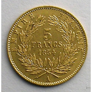Photo numismatique  Monnaies Monnaies françaises en or 5 Francs G.1000   5 Francs Napoléon III, petit module 1854 A  (Paris)  tranche cannelée    SUP