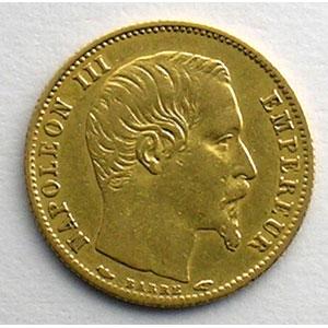 Photo numismatique  Monnaies Monnaies françaises en or 5 Francs G.1000   5 Francs Napoléon III, petit module 1854 A  (Paris)  tranche cannelée    TTB